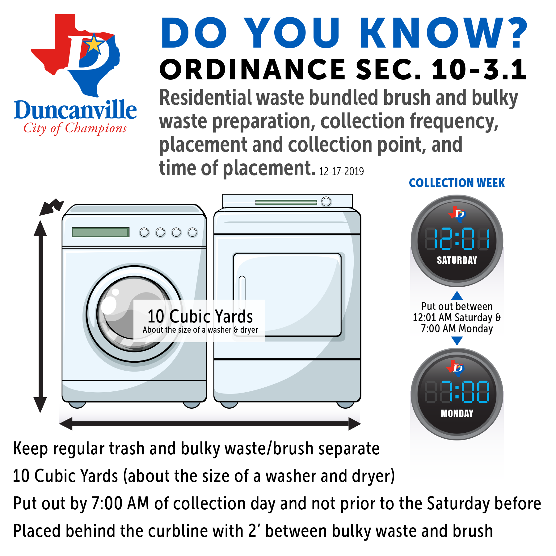 Ordinance Sec. 10-3.1 - Residential waste bundled brush and bulky waste preparation, collection frequency, placement and collection point, and time of placement.